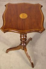 Provincial Georgian Sheraton wine lamp table marquetry inlaid walnut satinwood