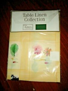 CROSCILL GAZEBO YELLOW BLUE GREEN RED FLORAL (1) OBLONG FABRIC TABLECLOTH 52X70