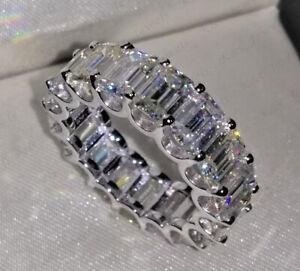 Moissanite Eternity Wedding Band Ring 14K White Gold Over Emerald Cut Band Ring