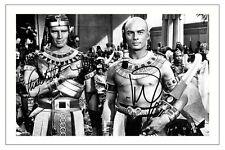 CHARLTON HESTON + YUL BRYNNER THE TEN COMMANDMENTS SIGNED PHOTO PRINT AUTOGRAPH
