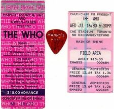 THE WHO Concert Ticket Stubs & guitar pick 1980 1982 TORONTO PETE TOWNSHEND Rare