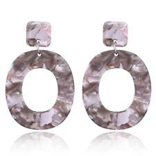 1 Pair Acid Acrylic Resin Dangle Oval Drop Earrings for Women Geometric Jewelry
