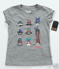 Neuf All Star Converse T-Shirt Top Enfants Fille Filles Gris 9 Chucks