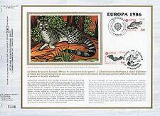 FEUILLET CEF / DOCUMENT PHILATELIQUE / EUROPA 1986 / FAUNE