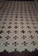 Antique Cotton Crochet Throw Bed Topper  88 x 84 cream color Needs Repairs CRAFT