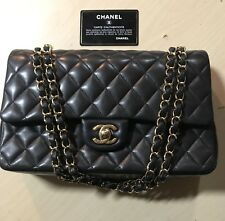 Chanel Classic Medium Black Double-Flap Bag Lambskin W/ Gold Tone Hardware 2014