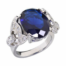 Solitaire Sapphire Sterling Silver Engagement Rings