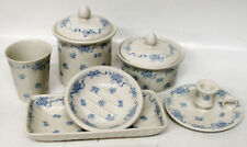 Blue Ribbons Laura Ashley Blue English Porcelain Bathroom Set / Suite Lot Wow!