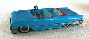 "1960 Vintage Japan HAJI Tin Friction 8"" Ford Blue CONVERTIBLE; Needs Windshield"