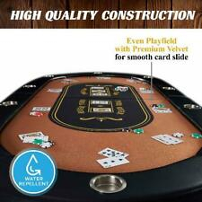 10 Player Poker Table Texas Holdem Game Casino Foldable Cup Holders