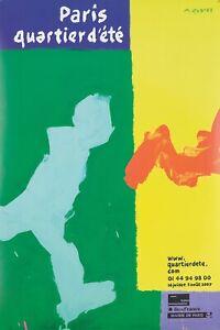 Original Vintage Poster Quarez Paris Summer French 2007