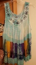 JUST CRUISING Turquoise Tie Dye Sleeveless Blouse 1X