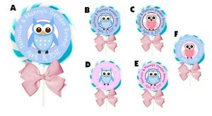 """1.5""""/2""""/2.5"""" OWL GENDER REVEAL PARTY LOLLIPOP CUSTOM ROUND STICKERS FAVORS OWLS"""