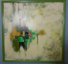 """MID CENTURY MODERN AUTO OIL ON BOARD ABSTRACT PAINTING~25"""" BY 25""""~UNIQUE WORK!"""