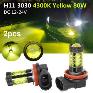 2X H8 H11 High Power 80W Samsung 3030 LED 4300k Yellow Gold Fog Driving Lights