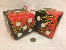 HOT RAT ROD flamed dice - black red yellow & white - one pair