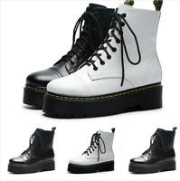 Womens Lace Up Ankle Boots Ladies Combat Platform Biker Military Shoes Size 4-9