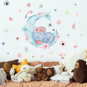 Cartoon Elephant Flowers Moon Wall Sticker Baby Nursery Room Art Decal DIY Gift
