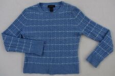 Express Women's Wool & Cashmere L/S Crew Neck Light Blue Striped Sweater - Small