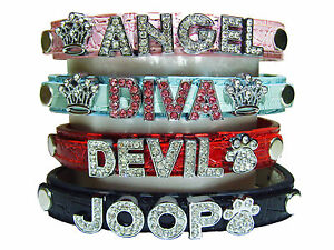 Personalized Unisex Dog Collar Any Name S-XL High Quality Crocodile PU Leather