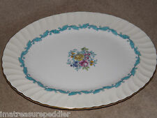 """Minton China Ardmore Turquoise Oval Serving Platter 12 1/2"""""""