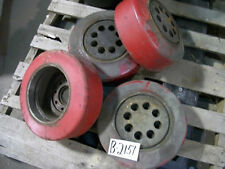 "1 of these 4   RED Forklift wheels Tires 8""ID x 5.25""W  8 Bolt fork lift"