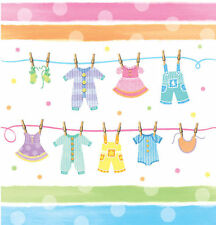 Baby Shower Plastic Tablecover Tablecloth Baby Clothes Line FREE P&P