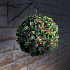 28cm che Solar HOLLY Berry CON SFERA TOPIARIA 20 LED LUCI-DECORAZIONE NATALIZIA