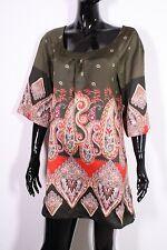 T7-8 Promod Damen Bluse Tunika lang Gr. 36 Satin khaki Paisley-Muster Boho