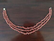 Vintage Handmade Triple Coral Necklace
