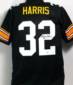 Franco Harris Autographed Black Pro Style Jersey - Beckett Auth *2