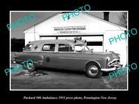 OLD POSTCARD SIZE PHOTO OF 1951 PACKARD 300 AMBULANCE PENNINGTON NEW JERSEY