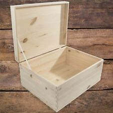 Large+ Rectangular Wooden Storage Box With Lid And Handles To Decorate Craft DIY