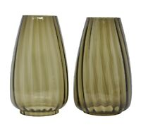 Mid-Century Modern 2 Smoke Glass Chimney Shades Brown Ribbed Swirl Lantern Lamp
