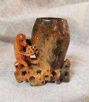 VINTAGE CHINESE SOAPSTONE carving monkey vase