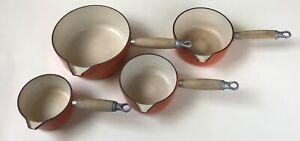 4 x Cousances Le Creuset Pans - 12, 14, 16 & 20cm Volcanic Orange Cast Iron