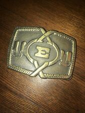 """Vintage Oden Inc Cast Brass Finish Decorated Belt Buckle With The Initial """" E�"""