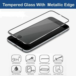 Tempered Glass Screen Protector Black Metal Edge Cover for iPhone XS/MAX