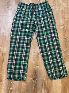 Vintage L L Bean flannel green ivory plaid pajama bottoms L Men loungewear