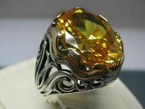 Turkish Handmade 925 Sterling Silver Jewelry Citrine Men's Ring            #TR