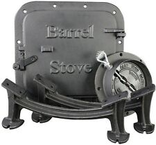 US Stove Barrel Stove Kit Wood Burning Double Drum Adapter Cabin Garage Heater