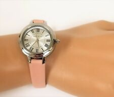 Anne Klein Gold Tone Hot Pink Leather Backing Band White Dial Watch Ak/2316