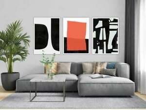 Modern Black White Orange Contemporary Abstract Print Wall Art Poster - Set of 3