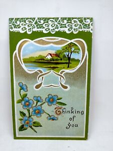 Vintage Postcard House Beside Pond Thinking Of You Blue Flowers Embossed