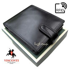 Mens Wallet Black Real Leather Trifold Quality Visconti RFID New in Box MZ5