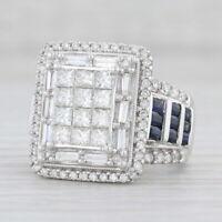 3.08ctw White Diamond Blue Sapphire Cocktail Ring 14k White Gold Size 7 IGI Card