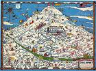 Mid-century Skisterical Map Mt. Hood Oregon Recreation Area Vintage Wall Poster