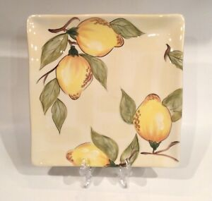 "Set of 7 Pier 1 Lemon Orchard Square Hand Painted Earthenware 11"" Dinner Plates"
