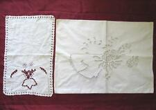 19C. ANTIQUE SET OF TWO EMBROIDERED PILLOW CASE & NAPKIN TOWEL