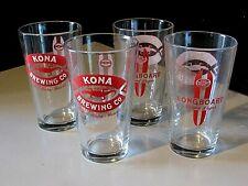 (4) New Kona Brewing Hawaii Longboard Beer Pint Glass Man Cave Bar lot No Tap